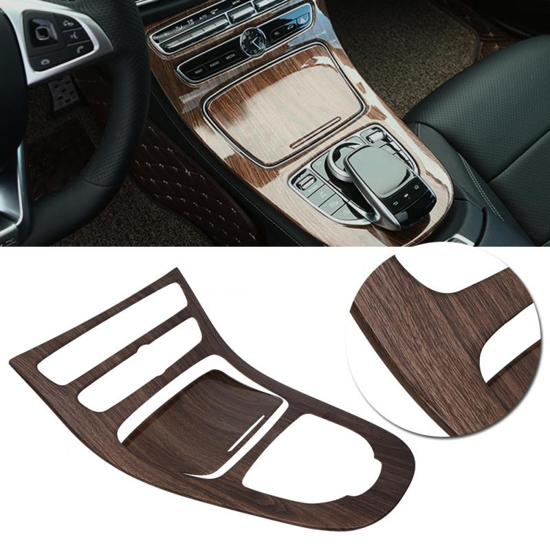 Wood Grain Console Gear Panel Cover Trim For W213 2016-17 Mercedes Benz E-Class