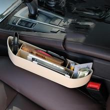 Car Seat Crevice Storage Box Leather Auto Seats Gap Pockets Organizador Phone Holder Pocket Trash Bin Organizers