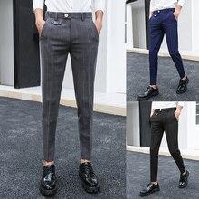 Autumn New Dress Pants Men Formal Plaid Suit Man Slim Fit Fashion Social Business Casual British Style Trousers Male