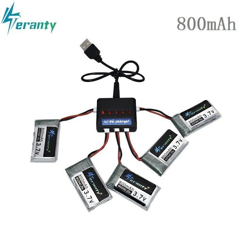 3.7 v 800 mah 25c lipo bateria e 5in1 carregador para syma x5 x5c x5sc x5sw tk m68 CX-30 k60 905 v931 rc quadcopter zangão peça de reposição