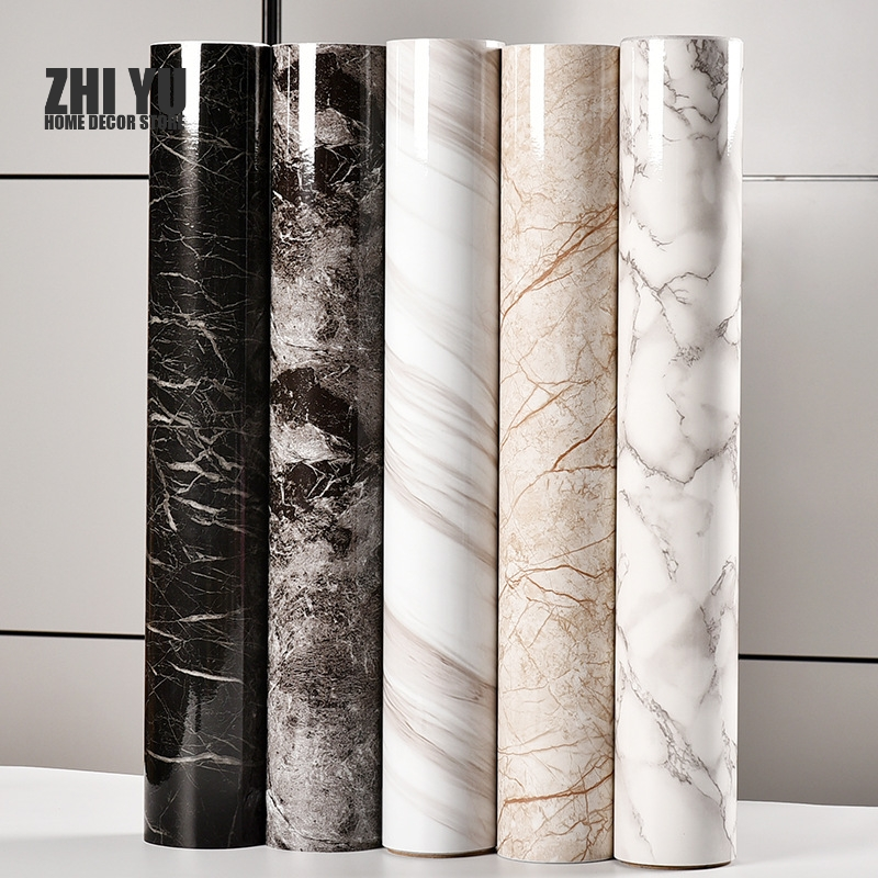 Self adhesive Marble Vinyl Wallpaper Roll Furniture Decorative Film Waterproof Wall Stickers title=