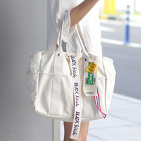 Korean Style Large Capacity Canvas Bag Portable Environmental Shopping Bag Casual Shoulder Bags For Women Handbag Bolsa Feminina