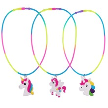 1pc Rainbow Unicorn Pendant Necklaces Rubber Necklace Birthday Party Supply Children Chain Jewelry Accessories