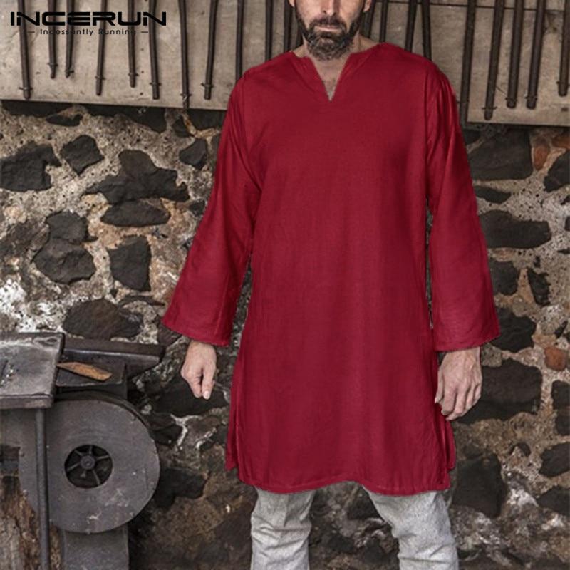 Men Shirt Tunic Renaissance Medieval Viking Dress Cotton Tunic Short Sleeve Trim Shirt Tops Kurta Clothes Robe Camisa Masculina Shirts
