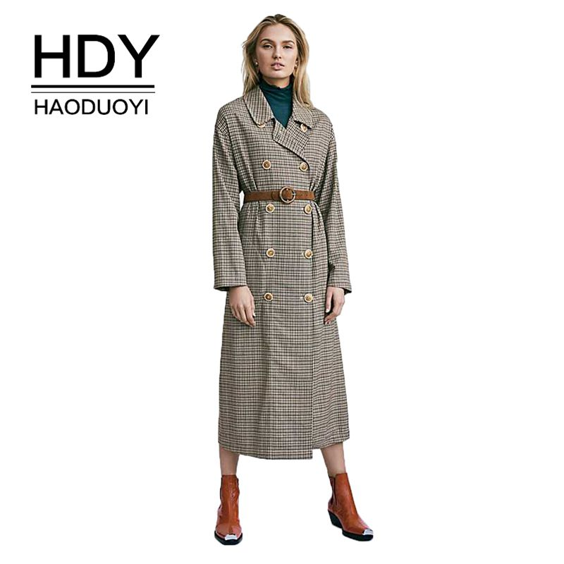 HDY Haoduoyi 2019 Revival Styled Pattern Back Waist Fold Double Row Belt Waistband Button Trim Body