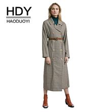 HDY Haoduoyi Autumn Winter New Fashion Casual Classic Double Breast Business Outerwear Windbreaker Female Long Trench Coat