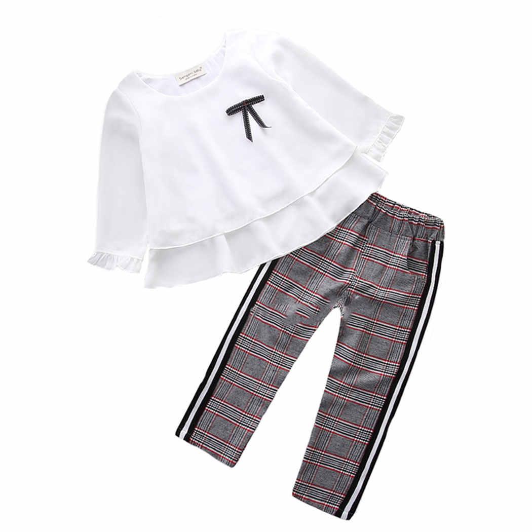 1-6y פעוטות בגדי אביב 2 pcs שיפון לבן למעלה + סריג מכנסיים חליפת אופנה קשת תלבושת קיד