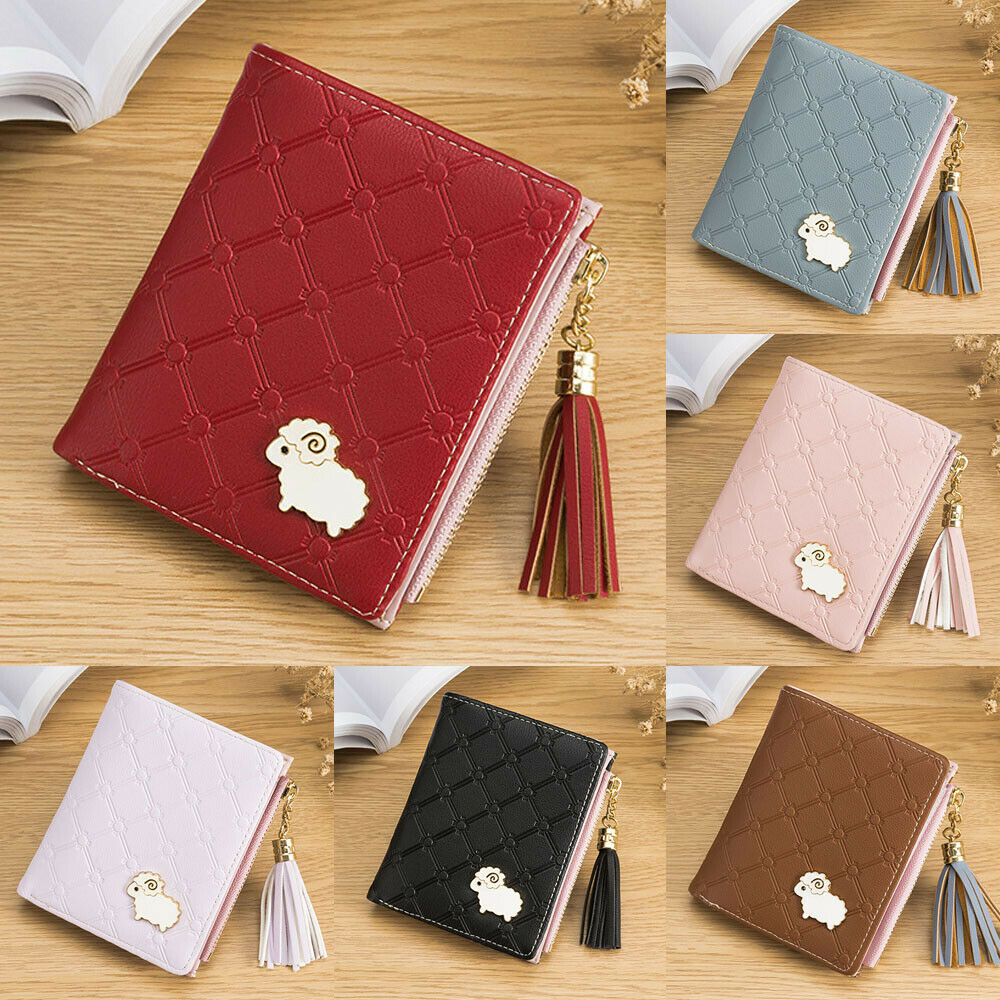 New Women Lamb Cartoon PU Leather Short Wallet Small Card Bag with Tassel