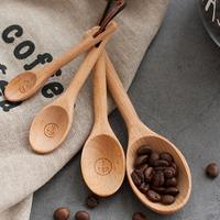 4 Pcs 에코-친화적 인 주방 커피 베이킹 측정 숟가락 세트 도구기구 소금 나무 너도밤 나무