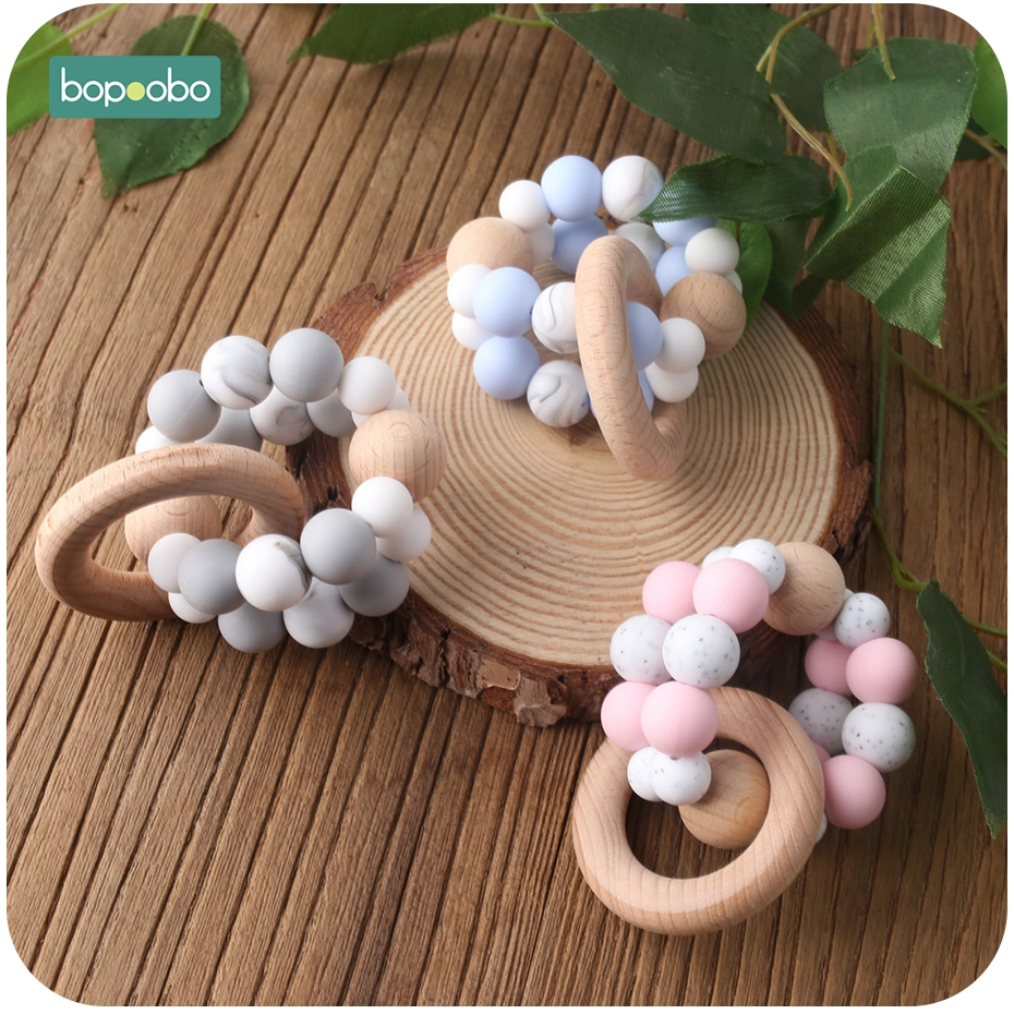 Bopoobo 1pc Musical BPA Free Silicone Tiny Rod Beads Rattle Wooden Beech Ring Baby Bed Hanging Rattles Toys Baby Teether