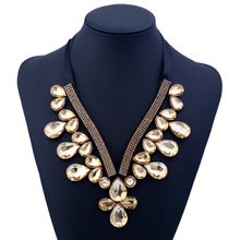 Tie ribbon V shaped collar fabric with gem necklace trend fashion hundred fake collar pendant necklace for woman jewelry charming geometric colored artificial gem rhinestone fake collar necklace and earrings for women