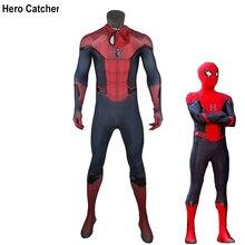 ヒーローキャッチャー高品質新スパイダーマンコスプレ衣装から遠ホーム衣装男性のスパイダーマンから遠ホームスーツ