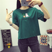 Summer Women Harajuku T- Shirt Women Korean Style Femela T-shirt Tee Kawaii Cat Embroidery Cotton Tops Shirt Camiseta Feminina(China)