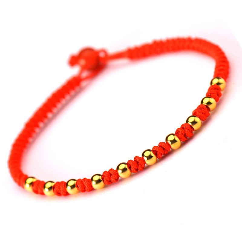 Fine Authentic 24k Yellow Gold 10pcs 0.1g Beads Knitted Bracelet 16.5cm LengthFine Authentic 24k Yellow Gold 10pcs 0.1g Beads Knitted Bracelet 16.5cm Length