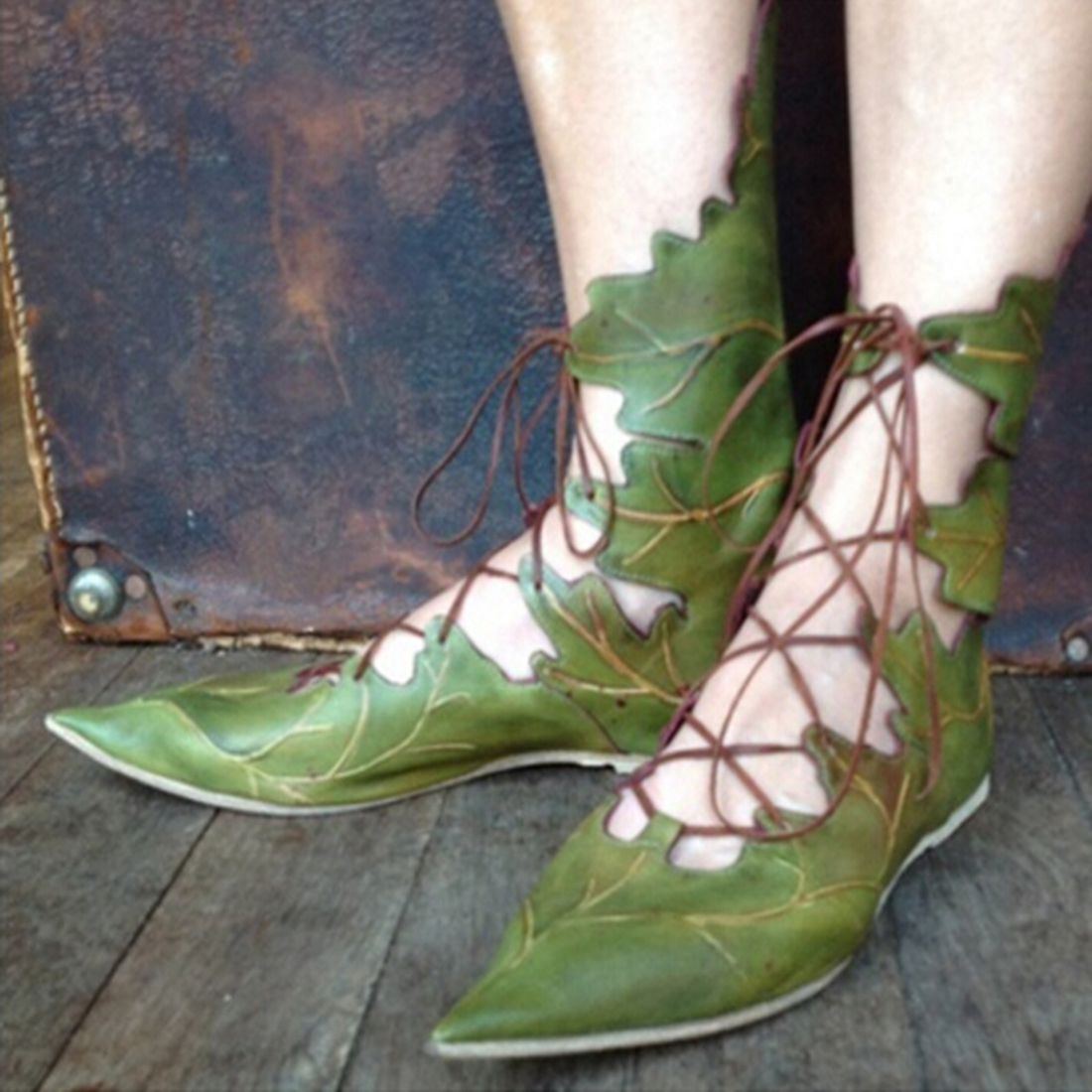 Casual-Shoes Leaf-Style Ankle-Strappy Pointed-Toe Autumn Green Gladiator Lace-Up Flat
