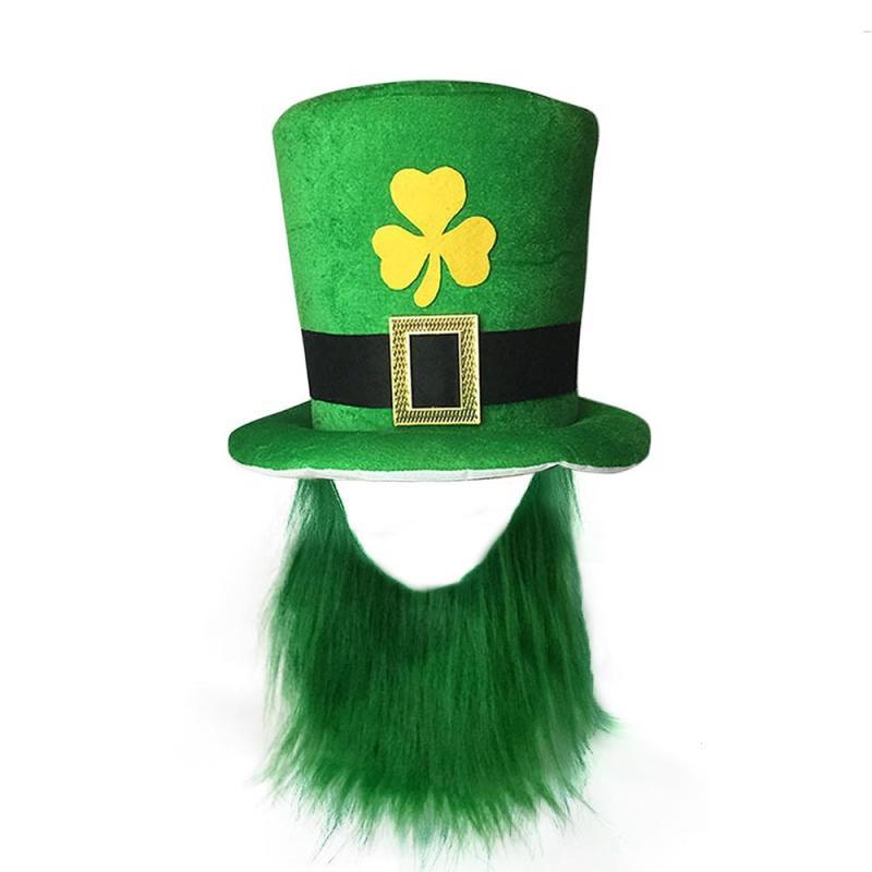 Saint Patrick Costume Leprechaun Top Hat Beard Party Cosplay Cap Reland  Clover Green Party Irish Hats de567940a7a4