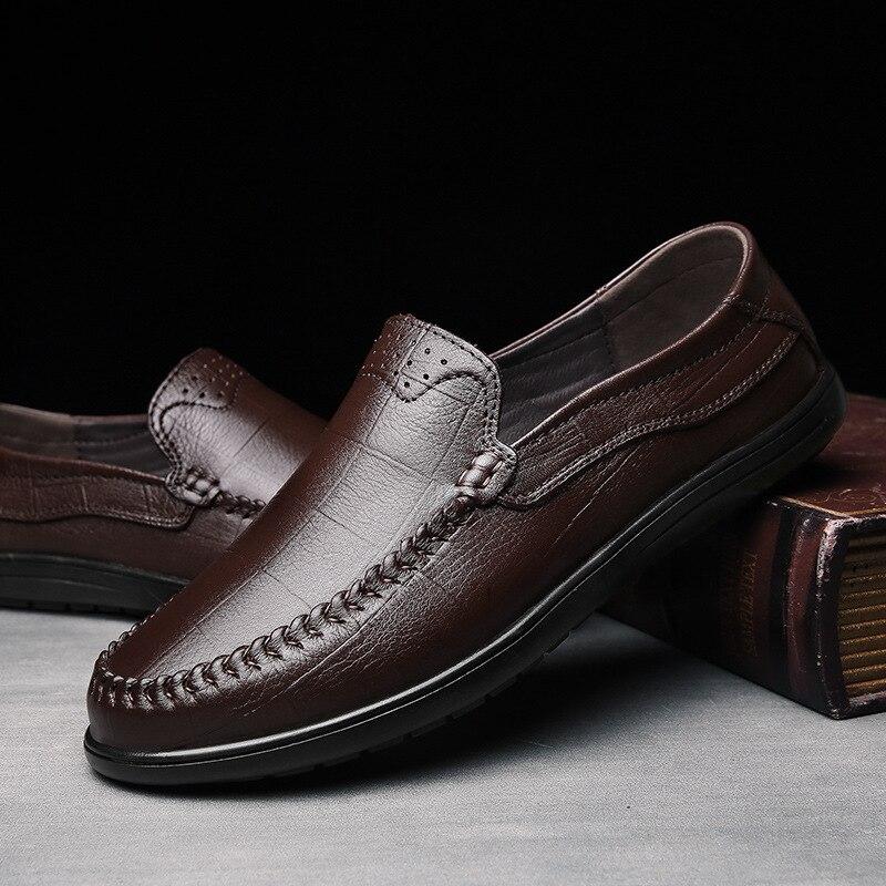 black Desgastar Suave Inglaterra Fundo dark Pequenos Lazer Unidade Sapatos Couro Outono Light Brown Brown De Macio Confortável Dawdler oposição Homem Sapato RpAqn7