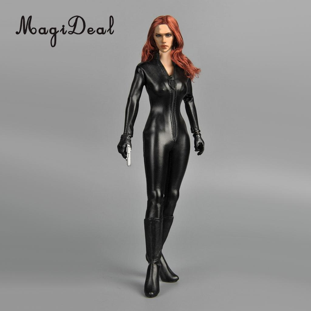Dependable 1/6 Scale Female Clothes Black Faux Black Widow Leather Jumpsuit For Action Figures Female Body Accs Toys Durable Service Action & Toy Figures