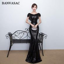 BANVASAC 2019 O Neck Elegant Mermaid Sequined Long Evening Dresses Party Short Cap Sleeve Backless Prom Gowns