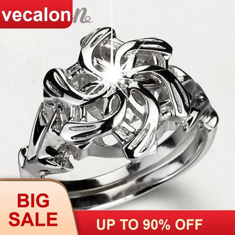 Classique Vintage bague de mariage anneau pour les femmes LOTR Le Galadriel Nenya Charme 3ct 5A Zircon 925 Soild Sterling bague En Argent