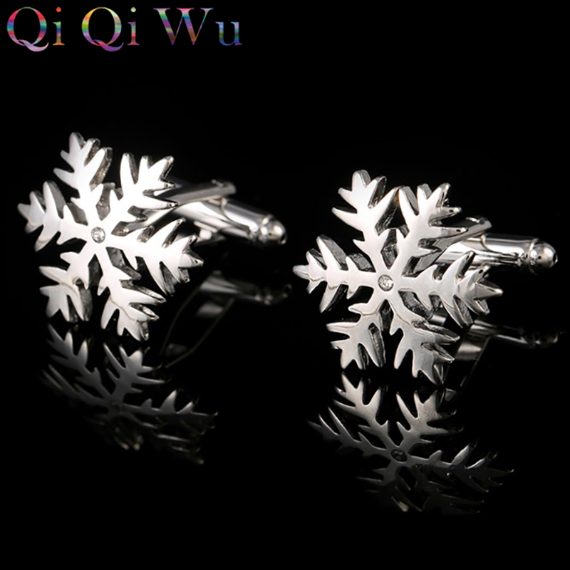 High Quality Sliver Snowflake Flower Cufflinks Men's Gift Jewelry Cuffs Buttons Men Electric Plating Joker Fashion Accessories|f cufflinks|fashion cufflinks|cuff button men - title=