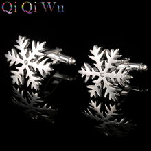 2016 Mens gift Sliver Snowflake Cuff Button Men Electric Plating Joker Fashion Jewelry Accessories