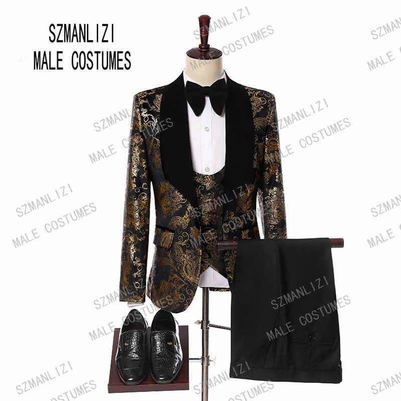 160caa5ad17 ... Wedding Men Suits 2019 New Designs Gentleman Velvet Lapel Slim Fit Black  Gold Flower Party Groom ...