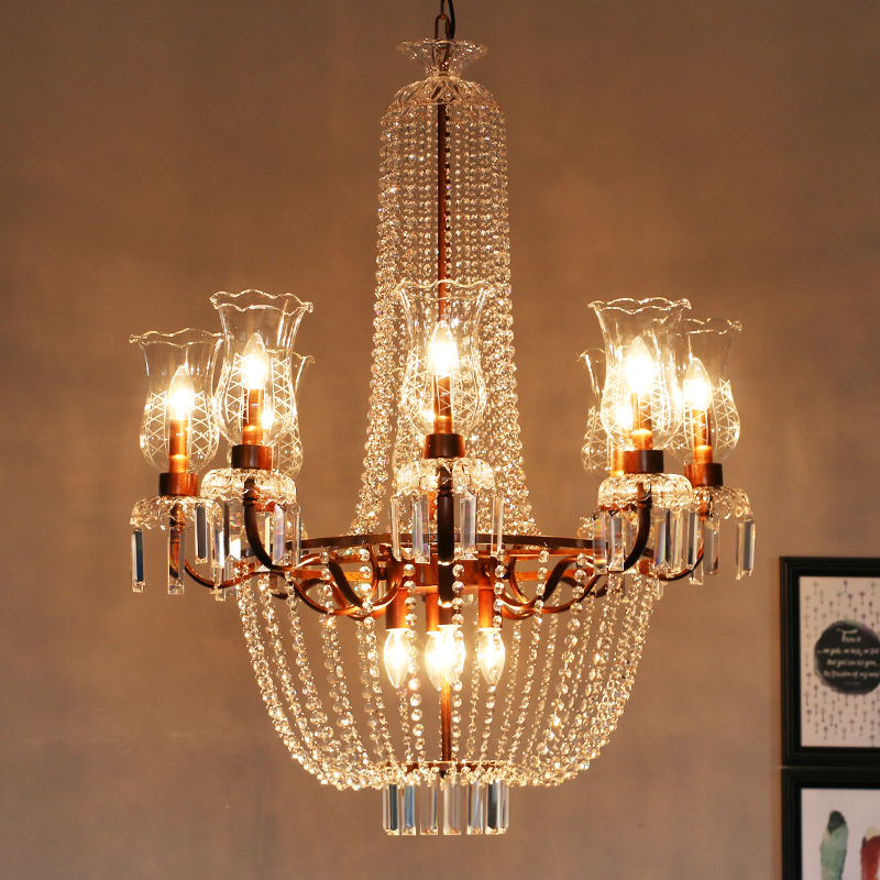 Hotel hall Vintage iron decoration lighting LED chandelier lamps French royal large crystal chandelier sitting room church lampe