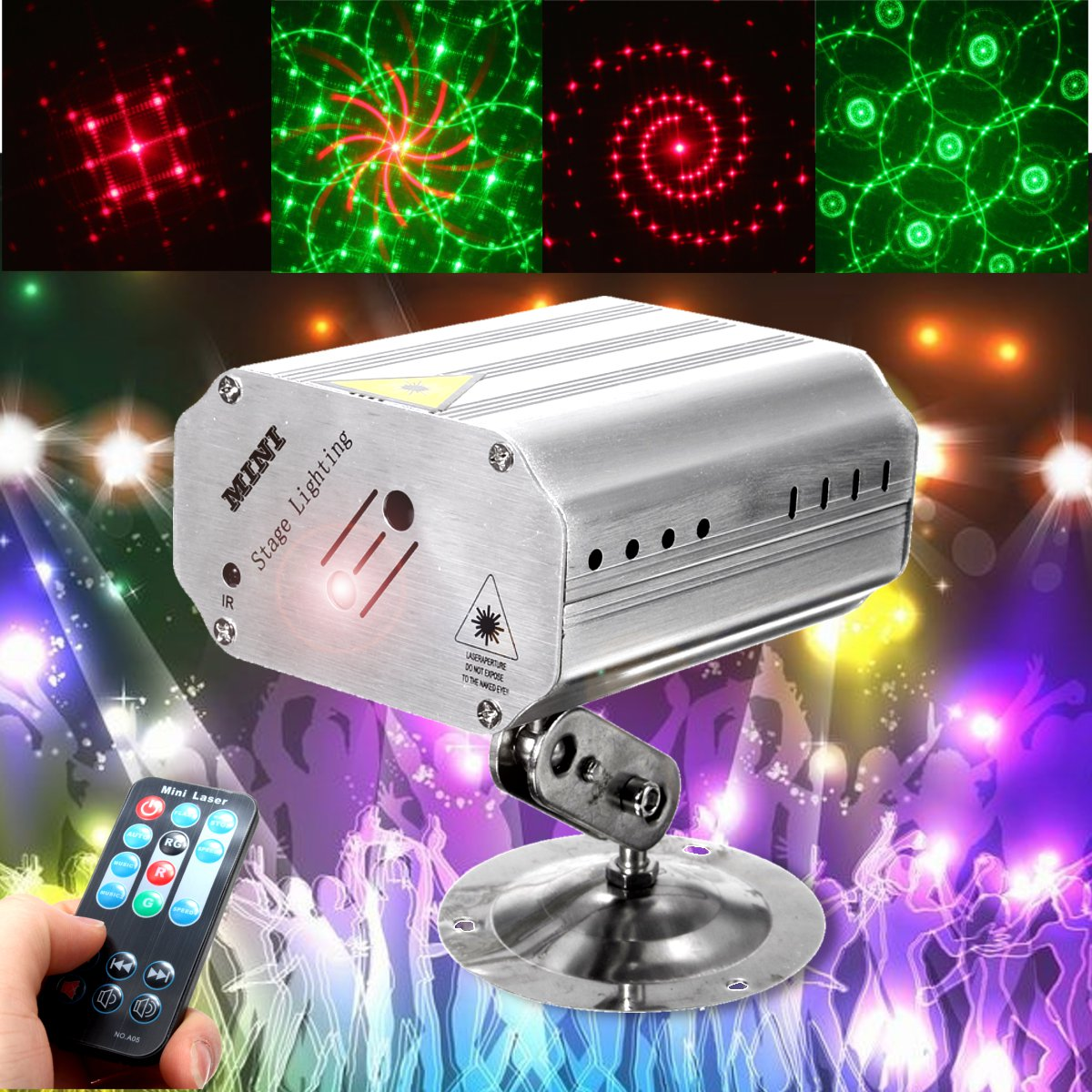 Mini Auto/Voice LED Laser Projector  Light 12 Patterns DJ Disco Party Club Lamp AC100-240V