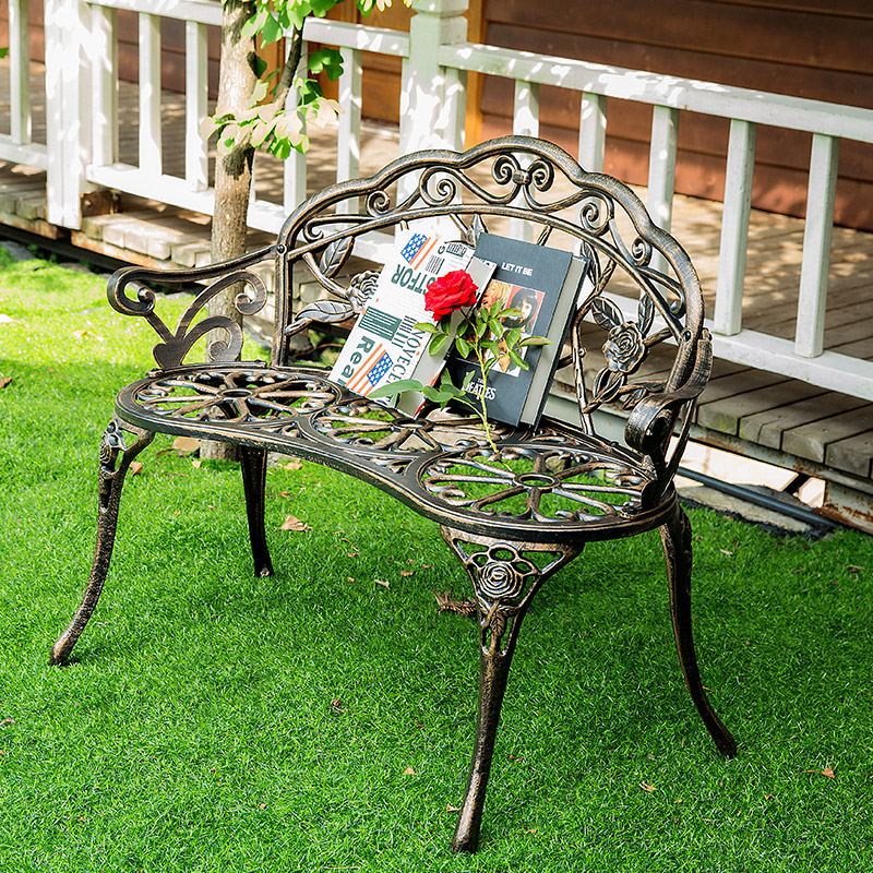 Love seat cast aluminum leisure chair park yard bench garden seat for outdoor furniture decoration rose