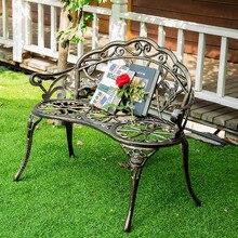 Asiento de amor de aluminio fundido Silla de ocio Parque patio Banco jardín asiento para decoración de muebles al aire libre Rosa diseño bronce