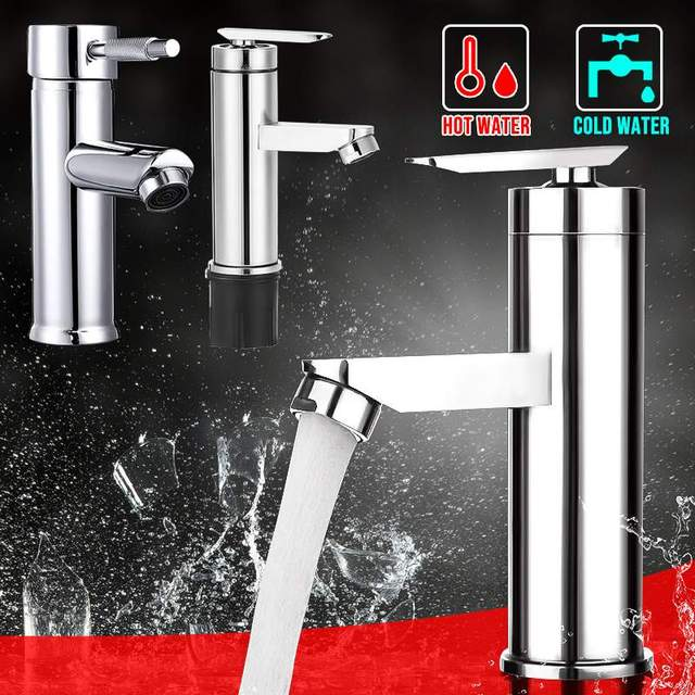 Xueqin Single Handle Bathroom Cold And Hot Water Taps Brushed Chrome Basin Faucet Bathroom Kitchen Deck Mounted Basin Faucet