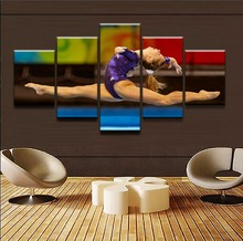 Modern Wall Art Frame Canvas HD Prints Painting Sports Gymnastics Modular Home Decor Picture 5 Panel Artistic Woman Poster