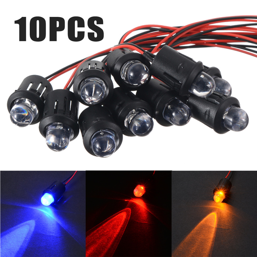10pcs 12V 10mm Pre-Wired Constant LED Bulbs Ultra Bright Water Transparent Bulb Blue/Red/White/Yellow