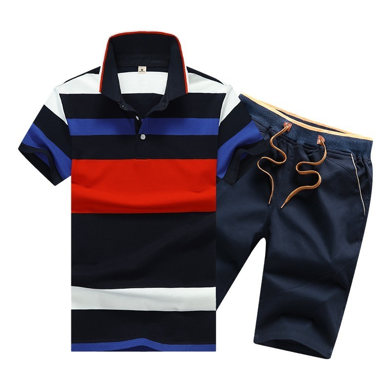 Summer Cotton Mens Polo Shirts Button Mens Sets Turn Down Neck 4XL Mens Shorts And Polos Striped Mens Clothes 2 Piece Sets