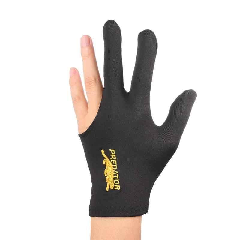 ใหม่ปฏิบัติ Lycra ผ้าเย็บปักถักร้อยมือซ้ายมือเปิด Three Finger สนุ๊กเกอร์บิลเลียดคิวถุงมือฟิตเนสอุปกรณ์เสริม