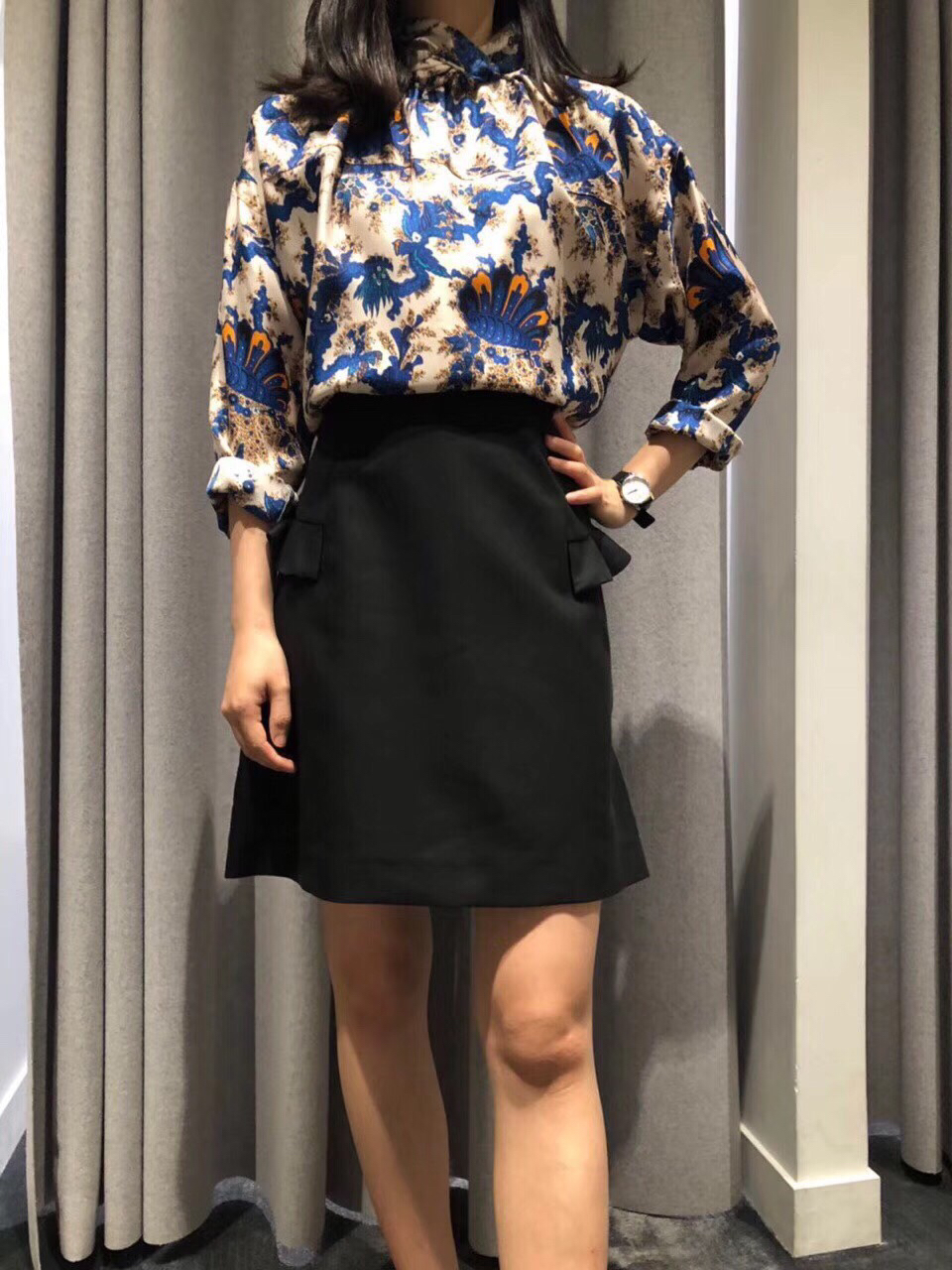 Cuello Alta Camisas Casual Larga Manga Llegada Otoño Blusa Nueva Mujeres Retro De q1FtwCtxT