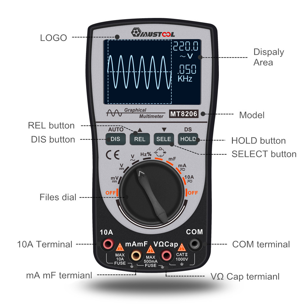 Image 4 - Upgraded MUSTOOL MT8206 2 in 1 Intelligent  Digital Oscilloscope Multimeter with Analog Bar Graph 200k High speed A/D Sampling-in Multimeters from Tools
