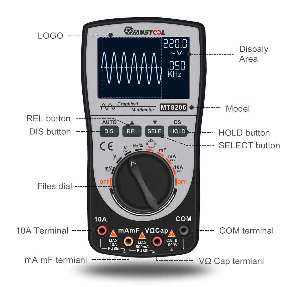 Upgraded MUSTOOL MT8206 2 in 1 Intelligent Digital Oscilloscope Multimeter  with Analog Bar Graph 200k High-speed A/D Sampling