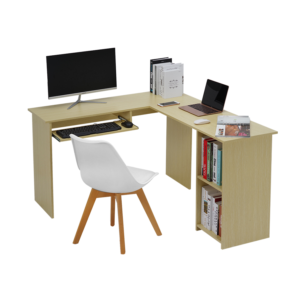 Large Home / Office Desk L-shaped Computer Desk With Sliding Keyboard Tray + 2 Bookshelf Corner Table