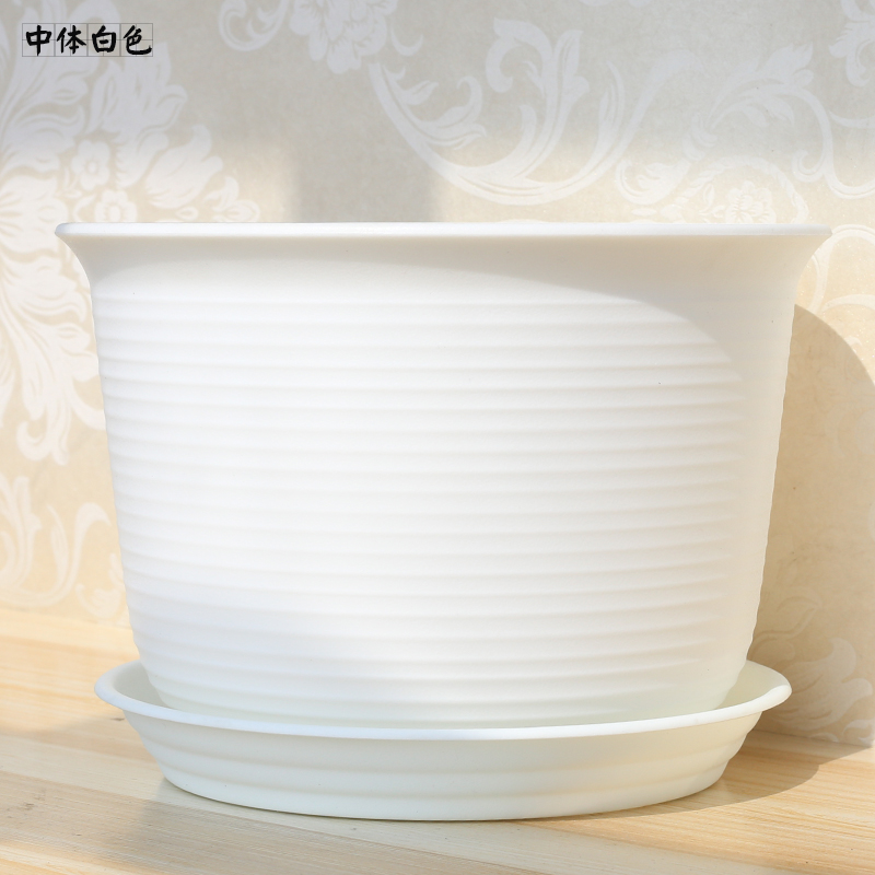 High-grade Imitation Ceramic Plastic Flower Pot Large Thickened Balcony Green Planting Creative Green