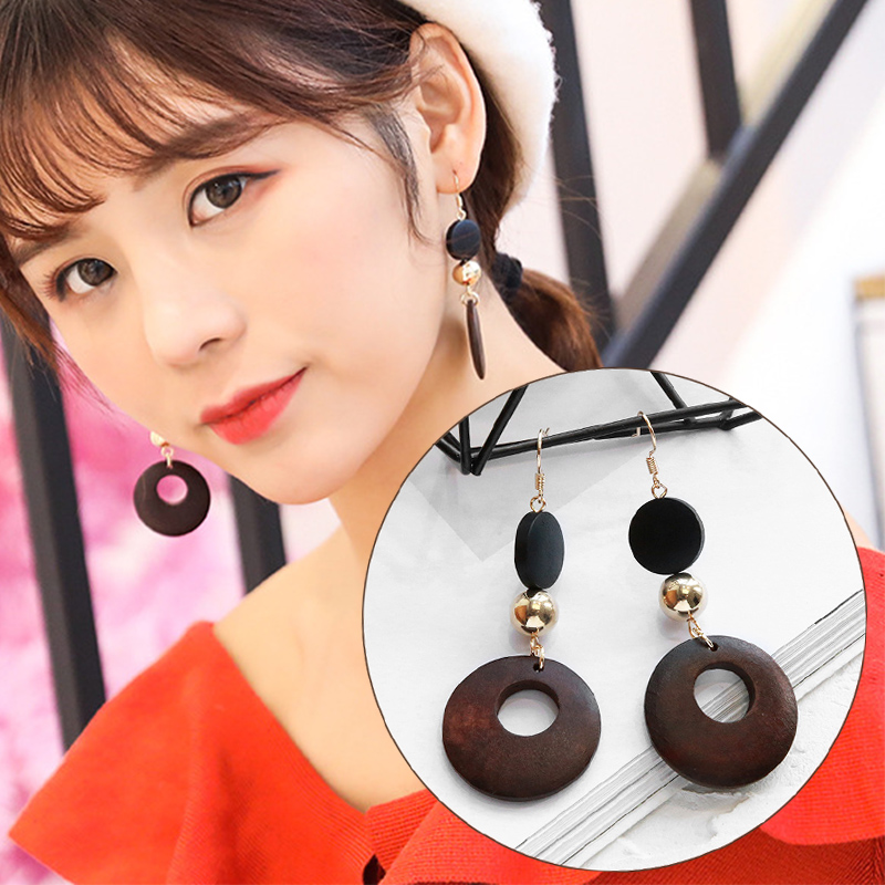 Earrings Jewelry & Accessories Fashion Gifts Cute Geometric Sweet Simple Alloy High Quality 2019 New Arrival Drop Earring Wooden 1pair Hot Sale Neither Too Hard Nor Too Soft