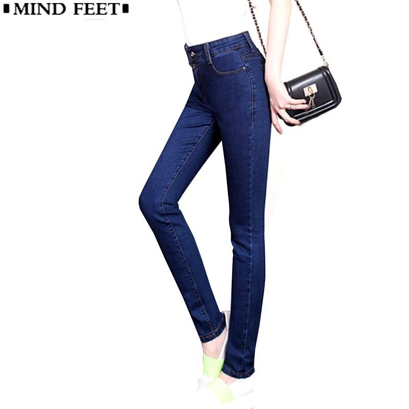 Mind Feet Jeans For Women Elastic Slim Ladies Plus Size Denim Pants Female Black Blue -2585