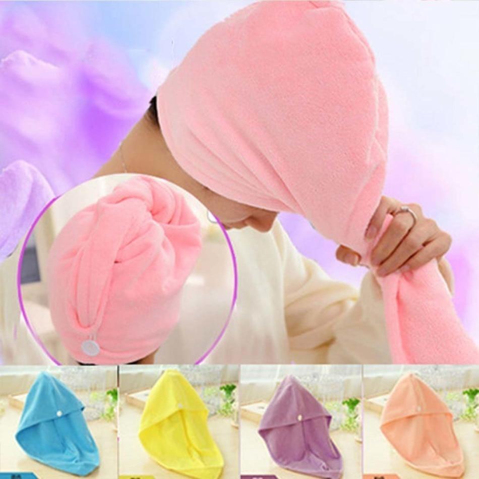 Microfiber Towel Quick Dry Hair Magic Drying Turban Wrap Hat Caps Spa Bathing