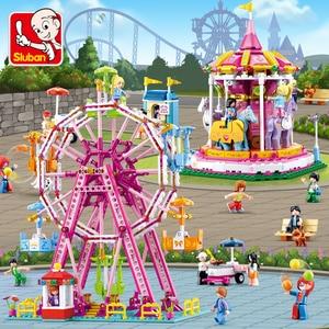 Image 2 - 놀이 공원 관람차 빌딩 블록 도시 친구 회전 목마 DIY 벽돌 아이들을위한 모델 놀이터 소녀 장난감 선물