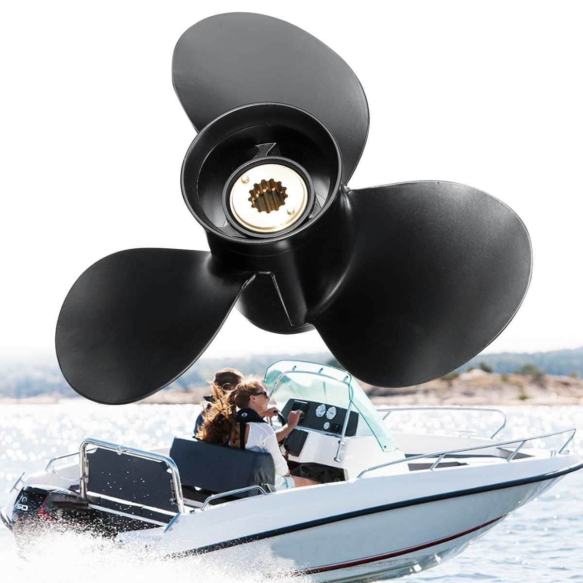 Outboard Propeller 48-73134A40 10 5/8 X 12 For Mercury Engine 25-70HP Aluminum 13 Tooth Spline Boat Accessories 3 Blades