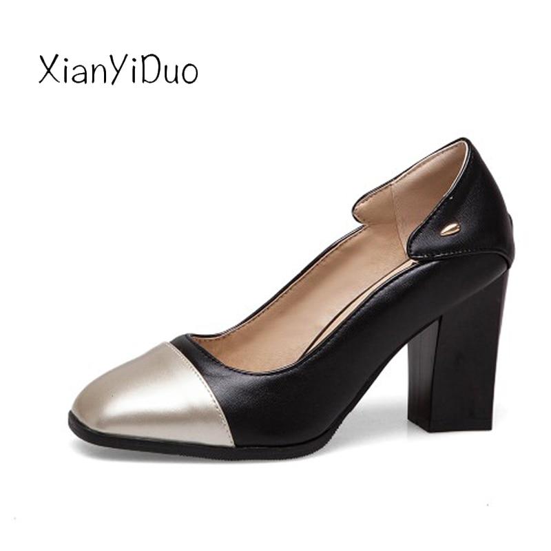 735ef130 Cuadrada Grandes Tacones Mujer Xianyiduo 2019 Talla 50 Primavera Altos Para  t717 Zapatos white De 40 Superficial Negro Punta ...