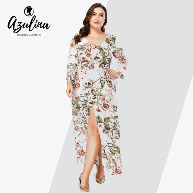 AZULINA Plus Size Floral Print Plunge Neck Long Sleeve High Slit Maxi Dress  Women Dresses Fall Vestidos Casual Dress Robe Femme 9cbd54b807f0