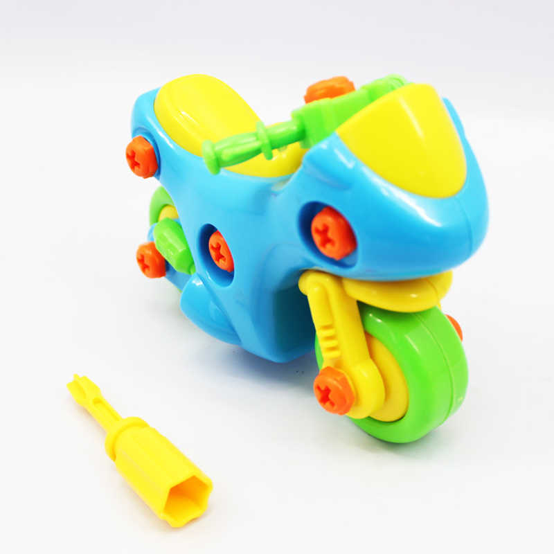 Disassembly Assembly Classic Motorbike Toy Early Educational Learning Build Block Toys For Children Kids gifts Random Color Gift