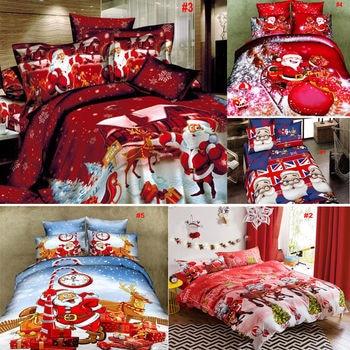Hot 4pcs/set Cotton Bedding Set Christmas New Year Bed Linen Pillow Case Sheet Cover Set Bed Sheet Duvet Cover 2019 Bed